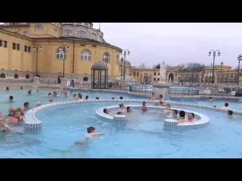 Swimming in the pools of Szechenyi in Budapest