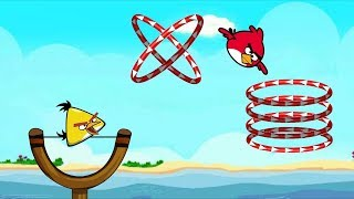 Angry Birds Slingshot Fun 2 - TAKE CHUCK BIRDS THROUGH ALL CIRCLE RINGS LEVEL SKILL GAME!