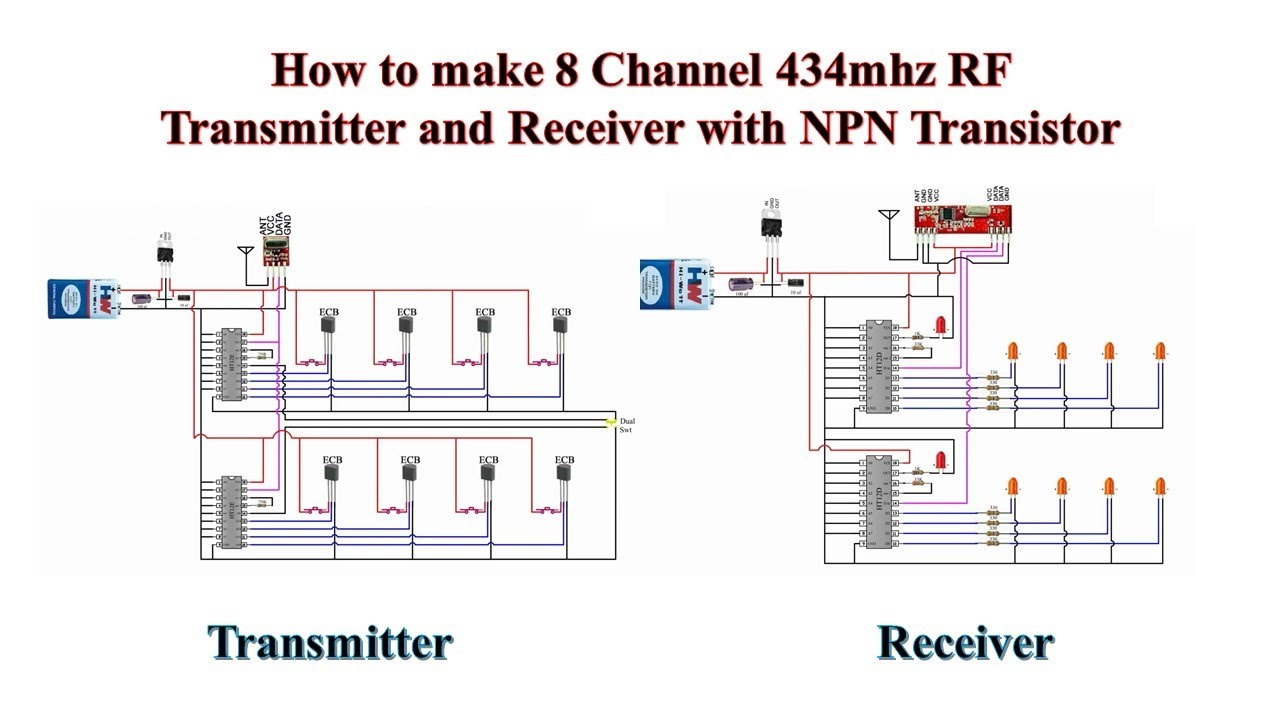 how to make 8 channel 434mhz rf transmitter and receiver with npn transistor [ 1280 x 720 Pixel ]