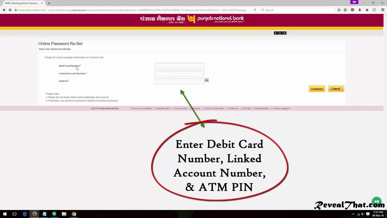 pnb net banking password example