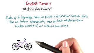 Implicit (non-declarative) memory - Intro to Psychology