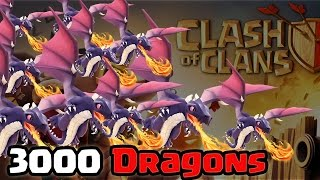 Clash of Clans - 3000 Dragons Raid (Massive Gameplay)