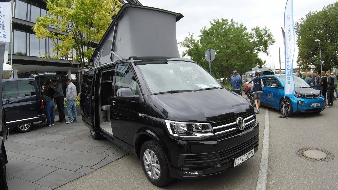 vw t6 california ocean multivan van camper walkaround interior model 2017 black colour. Black Bedroom Furniture Sets. Home Design Ideas