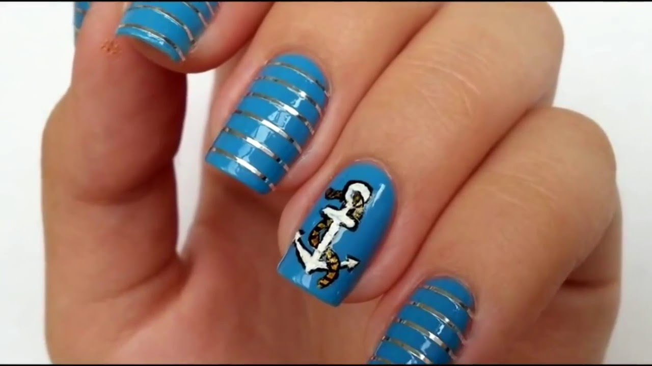 How do marine nail design manicures for the summer 2016 youtube how do marine nail design manicures for the summer 2016 prinsesfo Gallery
