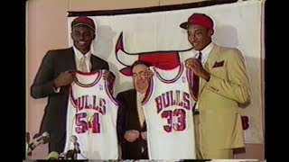 Michael Jordan welcomes Scottie Pippin Horace Grant to the Chicago Bulls (1987)