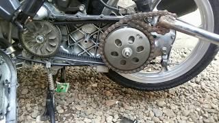 Cara membuka puly belakang motor matic pakai RANTAI BEKAS