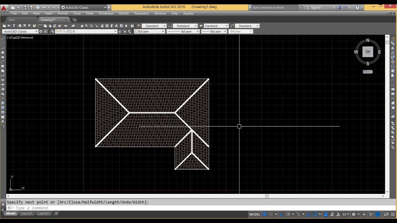 Autocad Tutorial Draw Roof In Autcad Youtube