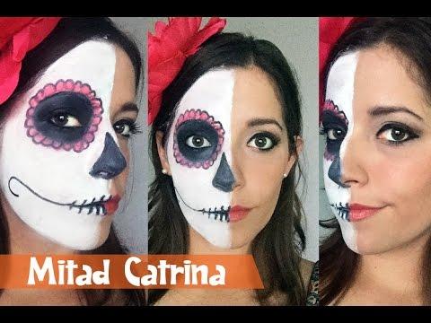 Halloween Maquillaje Mitad Catrina Youtube