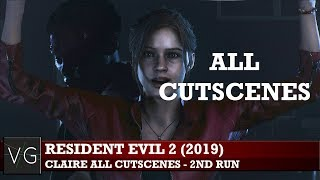Resident Evil 2 (2019) - Claire Redfield all cutscenes (2nd run + true ending)