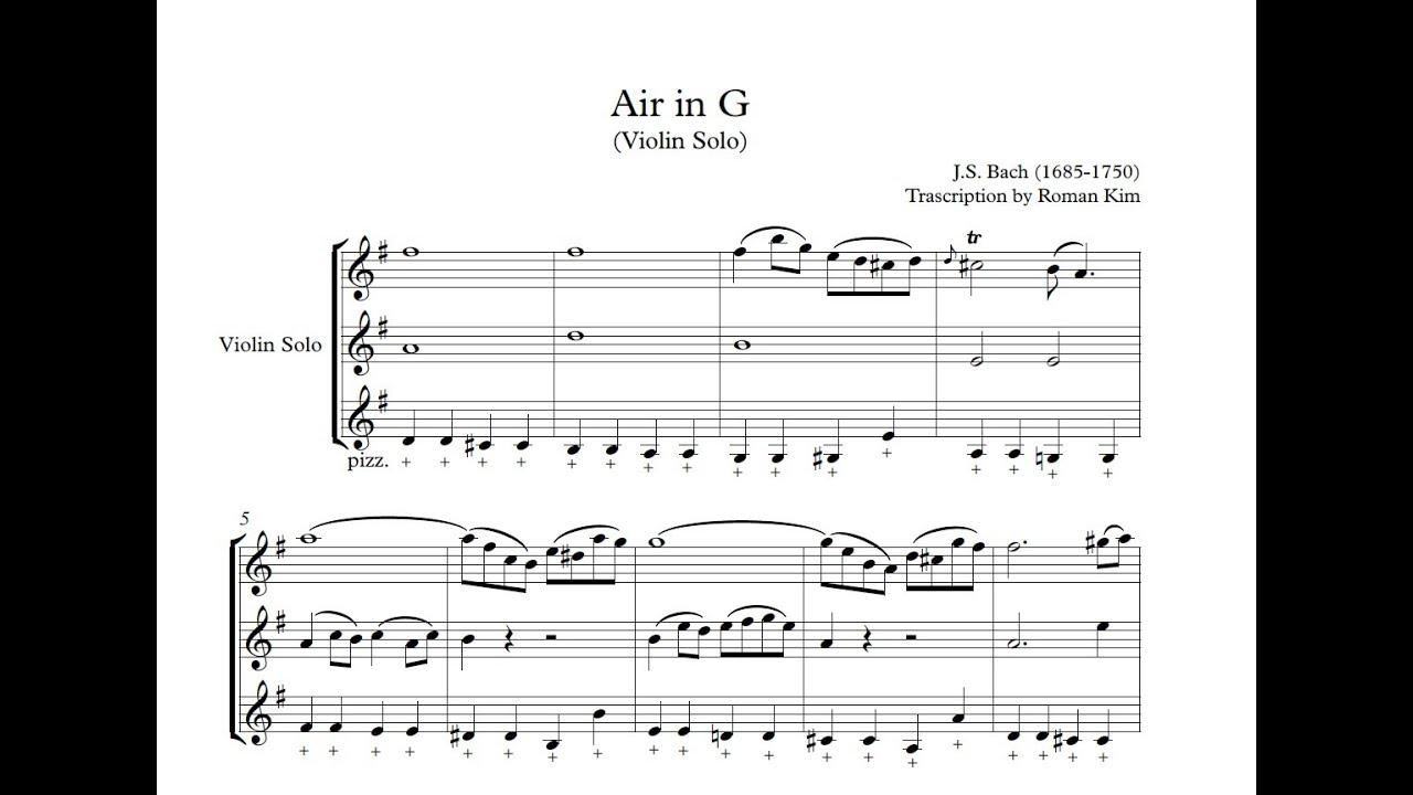 Air in G (Violin Solo Score) - ROMAN KIM