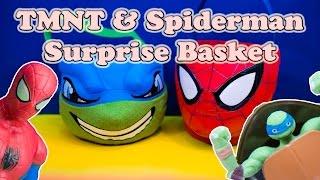 TEENAGE MUTANT NINJA TURTLES Nickelodeon TMNT & Spiderman Surprise Basket Toys Video