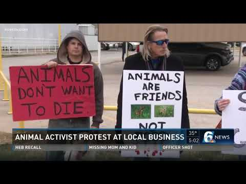Animal activist protect at local business