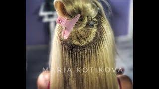 микрокапсулы. итальянское наращивание волос. hair extensions