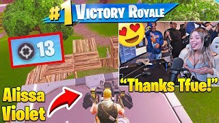 Alissa Violet TAKES OVER Tfue's Fortnite Account and WINS A SOLO!