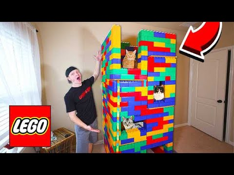 5 STORY LEGO MANSION FOR MY CATS!
