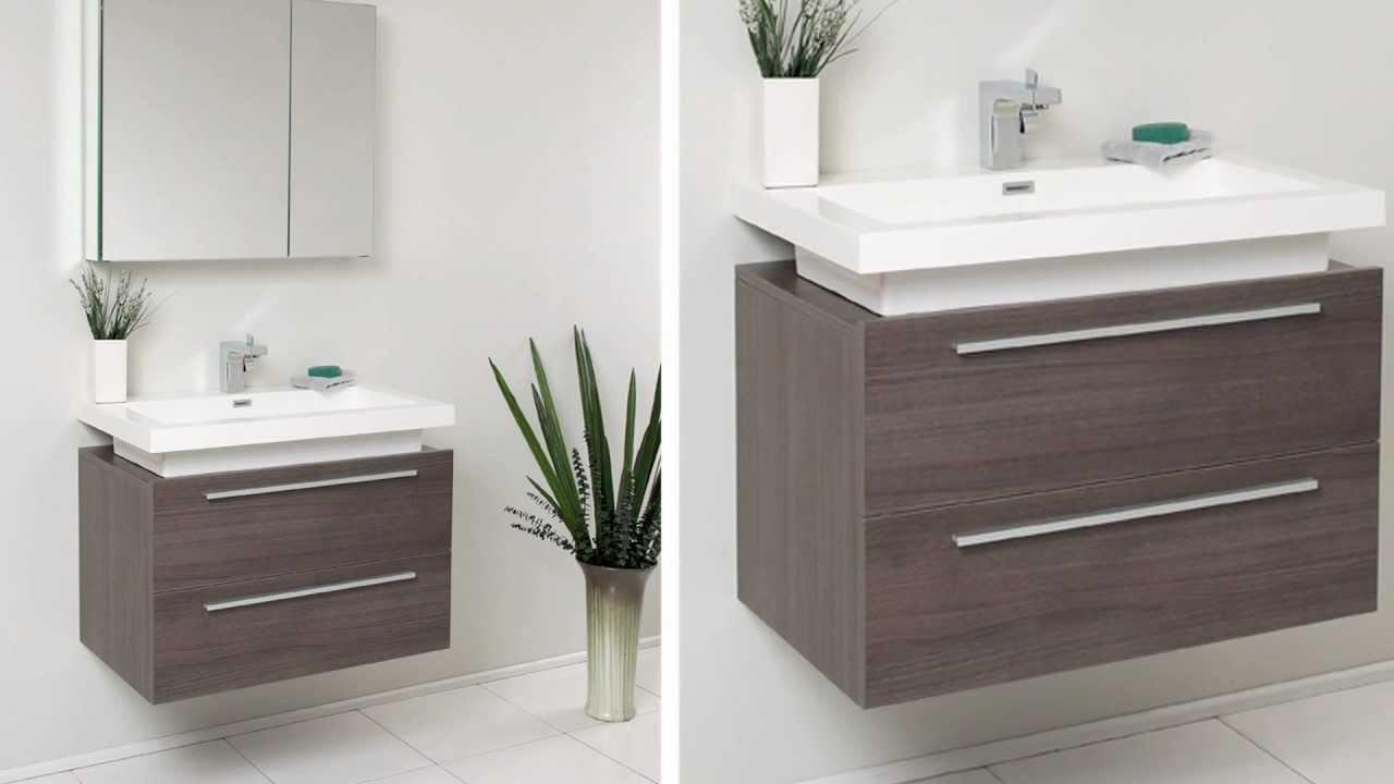 Fresca Medio Gray Oak Modern Bathroom Vanity w/ Two Drawers ...
