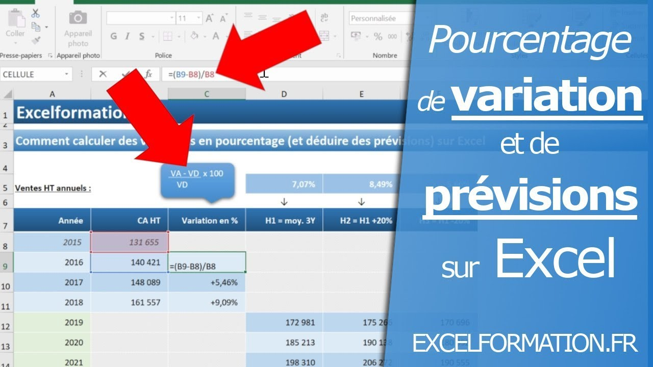 Comment Calculer Des Variations En Pourcentage Et Déduire Des Prévisions Sur Excel
