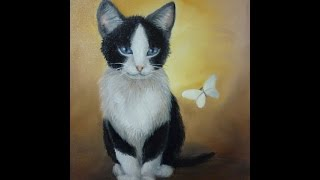 kitten in olieverf real-time, Deel 1 - (kat, poes, cat oilpainting) tutorial alla-prima