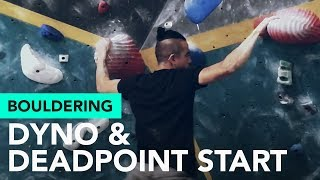 Bouldering v5, v6: Dyno and a deadpoint start in this climbs