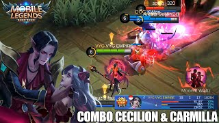BEST COMBO CECILION & CARMILLA DI BRAWL MODE - MODAL SEPATU MANA DAPAT 13KILL! MOBILE LEGENDS