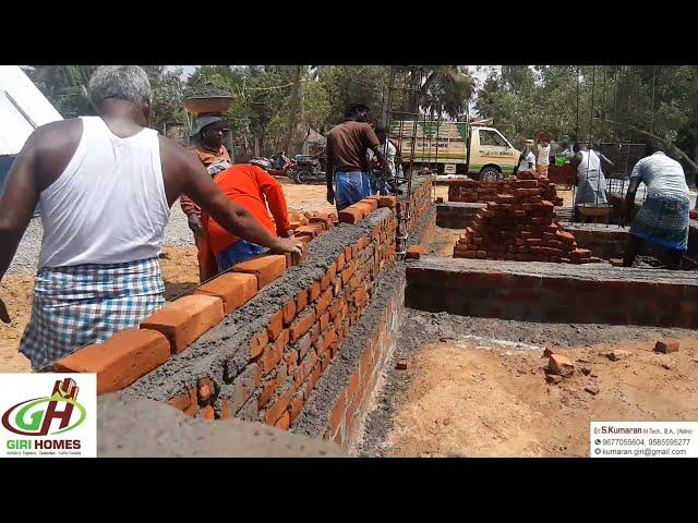 Basement Brick Work   1300Sq.ft Building West Facing basement work  By GIRI Homes