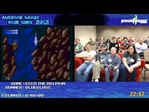 Ecco The Dolphin - Speed Run in 0:41:46 by BlueGlass live for AGDQ 2013 [Genesis]