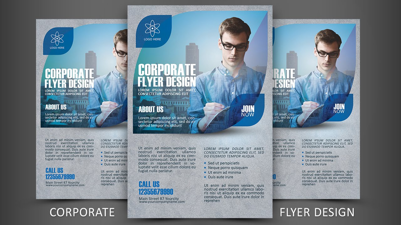 Print Design Corporate Flyer Photoshop Tutorial YouTube