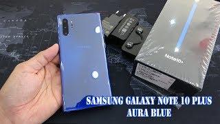 Samsung Galaxy Note 10 Plus Aura Blue color unboxing | fingerprint, face unlock tested