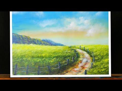 Vẽ Tranh Phong Cảnh Đồng Quê-How To Paint Flower field in Acrylic [Timelapse] 51