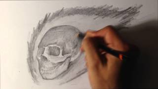 How to Draw a Skull on Fire - Skull Drawings
