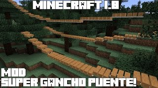 Minecraft 1.8 MOD SUPER GANCHO PUENTE! Rope Bridge Mod Español!