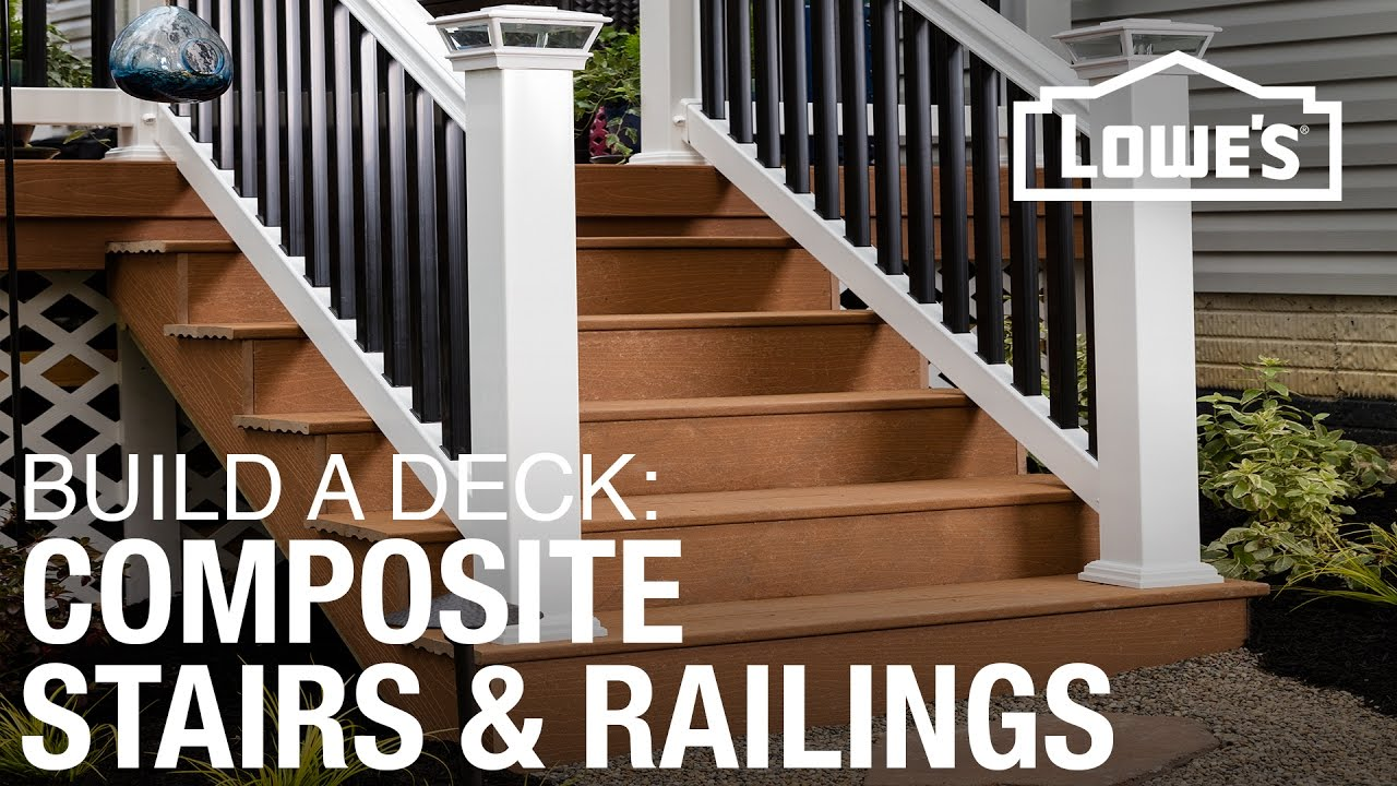 How To Build A Deck Composite Stairs Railings 4 Of 5 Youtube | Outdoor Railings For Steps | Design | Hand | Porch | Front Door | Simple