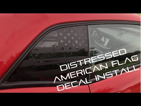 Distressed Flag Window Decal - Challenger Scat Pack Install