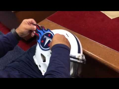 Replacing the helmet logo day after a game