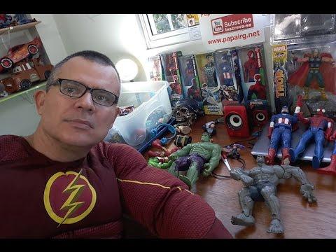 The Flash DC Comics Fantasia  e Papai RG arrumando brinquedos, bonecos e bonecas  parte 2 Live
