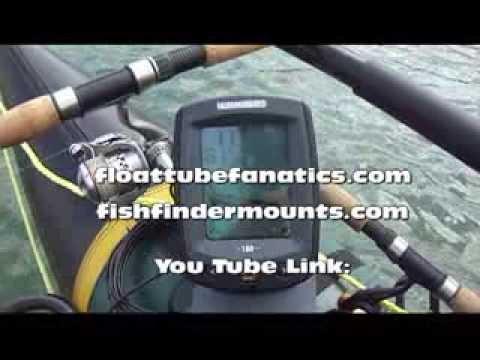 Universal float tube pontoon fish finder set up for Float tube fish finder