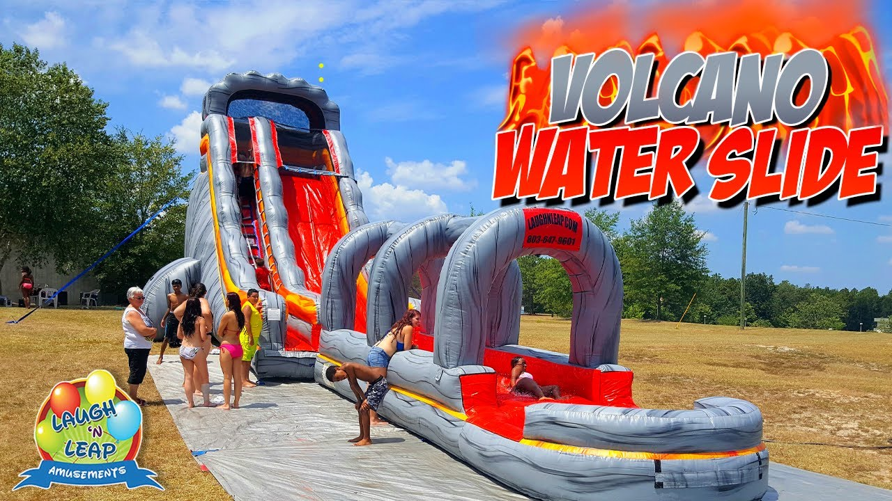 Volcano Water Slide Giant Water Slide Inflatable Bounce House Summer Fun With Water Slide Rental Youtube