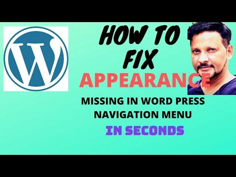 No menus in appearance wordpress