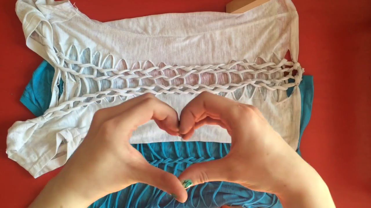 Basic T Shirt Weaving Diy T Shirt Cutting And Weaving 2 Ways Youtube