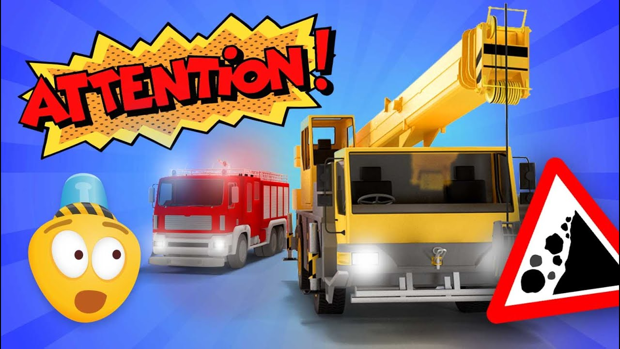 fire brigade u0026 construction vehicles cartoon for kids about fire
