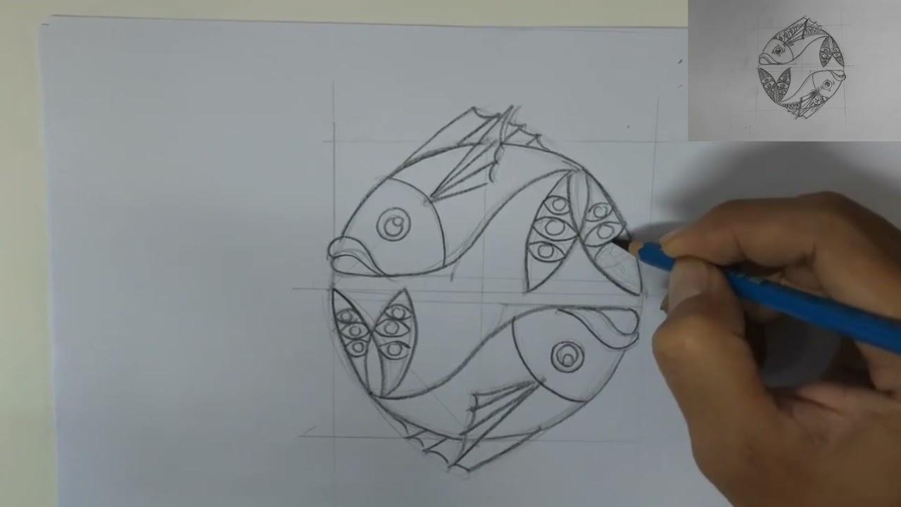 การออกแบบลวดลายเส้นรูปปลาคู่ ม.3