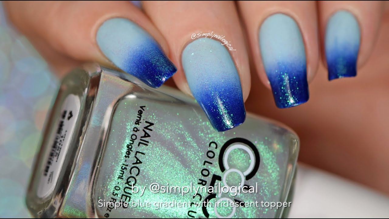 Easy gradient nail art with iridescent top coat - YouTube