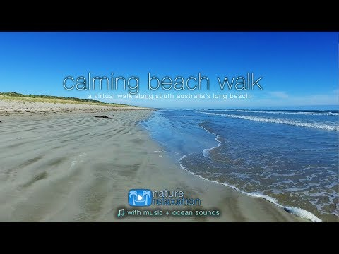 Calming Beach Walk- Australia 4K UHD + Music & Ocean Sounds for Relaxation