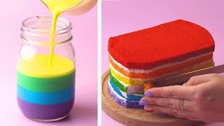 How To Make Rainbow Cake Decorating Ideas | So Yummy Cake Recipes | Tasty Plus