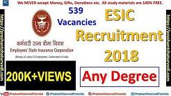 ESIC Recruitment 2018 | 539 Vacancies | Graduates Eligible | Check Details Here