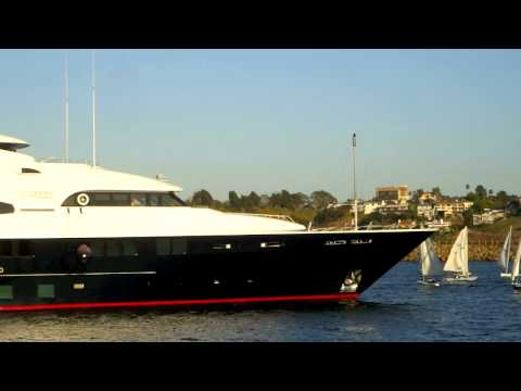 Mega Yacht Leaving Port - Marina Del Rey - California