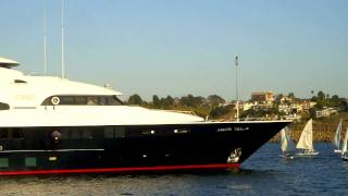 Mega Yacht Leaving Port - Marina Del Rey - California