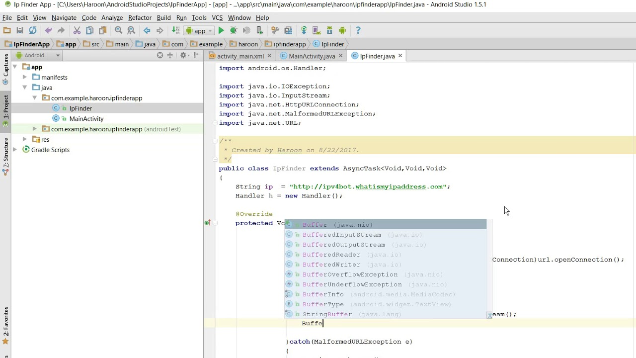 How to find public ip address in Android Studio through JSON API
