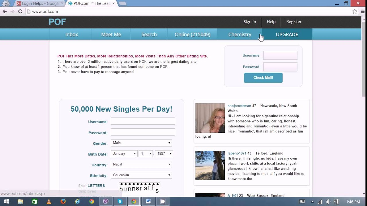 Sign up for plenty of fish dating site