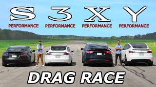 Tesla Model S vs 3 vs X vs Y - PERFORMANCE Models // DRAG & ROLL RACE